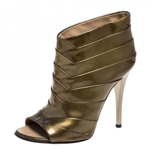 Giuseppe Zanotti Olive Green Patent Leather Ankle Boots Size 36 - used