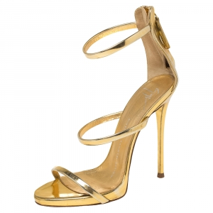 Giuseppe Zanotti Gold Leather Harmony Sandals Size 36 - used