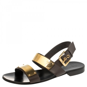 Giuseppe Zanotti Black Leather Jason Sling Buckle Flat Sandals Size 40