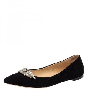 Giuseppe Zanotti Black Suede Embellished Ballet  Flats Size 37.5
