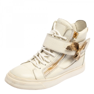 Giuseppe Zanotti White Leather Eagle High Top Sneakers Size 38