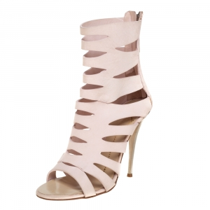Giuseppe Zanotti Pink Leather Cut Out Booties Size 36 - used