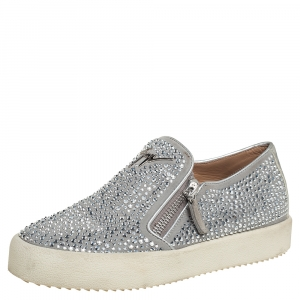 Giuseppe Zanotti Grey/Silver Crystal Embellished Suede And Leather May London Slip On Sneakers Size 38