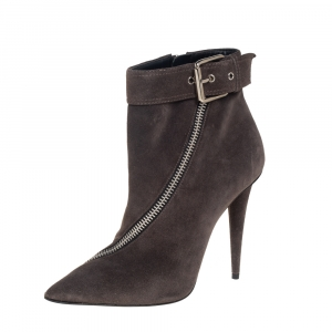 Giuseppe Zanotti Grey Suede Zipper And Buckle Detailed Ankle Boots Size 39
