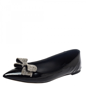 Giuseppe Zanotti Black Patent Leather Crystal Embellishment Ballet Flats Size 39.5