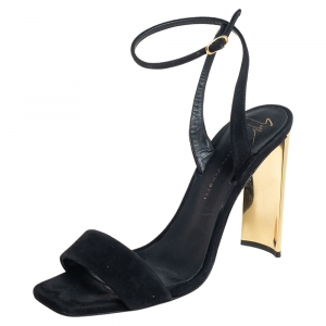 Giuseppe Zanotti Black Suede Open Toe Sandals Size 37.5 - used