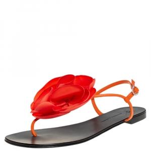 Giuseppe Zanotti Orange Leather And Fabric Flower Embellished Flat Thong Sandals Size 40 - used