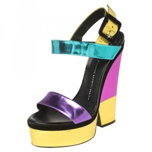 Giuseppe Zanotti Multicolor Colorblock Foil Leather Platform Ankle Strap Sandals Size 39 - used