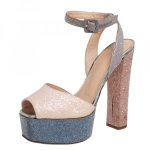 Giuseppe Zanotti Multicolor Glitter Betty Peep Toe Platform Sandals Size 38.5 - used