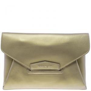 Givenchy Gold Leather Medium Envelope Antigona Clutch