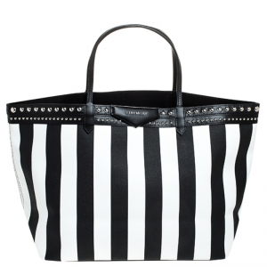 Givenchy Black/White Stripe Coated Canvas Antigona Tote