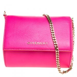 Givenchy Hot Pink Leather Micro Pandora Box Chain Bag