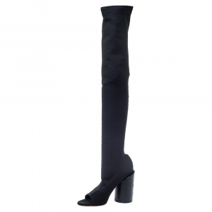 Givenchy Black Stretch Fabric Edgy Over The Knee Open Toe Boots Size 38.5 -