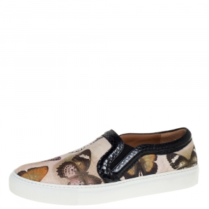 Givenchy Multi Color Python Trim and Leather Butterfly Print Round Toe Slip On Sneakers Size 37.5