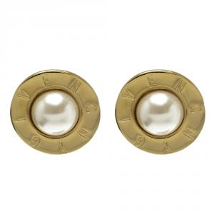 Givenchy Faux Pearl Gold Tone Round Clip-on Stud Earrings