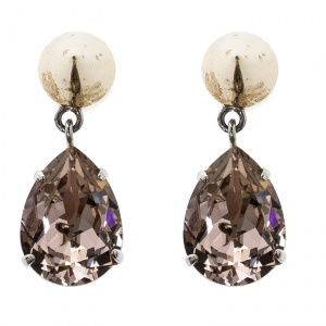 Givenchy Magnetic Spike Crystal Two Tone Metal Drop Earrings