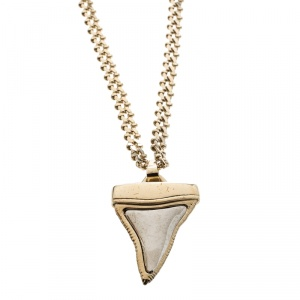 Givenchy Small Shark Tooth Pendant Gold Tone Two Tier Chain Necklace