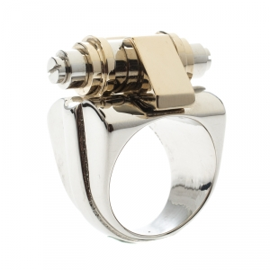 Givenchy Obsedia Two Tone Metal Bar Ring Size 56