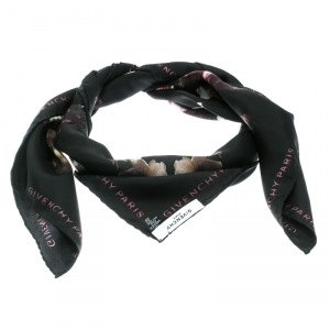 Givenchy Black Degrade Roses Faded Printed Silk Square Scarf