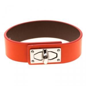 Givenchy Shark Tooth Orange Leather Silver Tone Bracelet