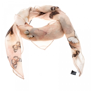 Givenchy Brown Butterfly Printed Silk Chiffon Square Scarf