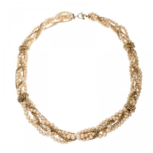 Givenchy Faux Pearl Gold Tone Multistrand Chain Toggle Belt / Necklace