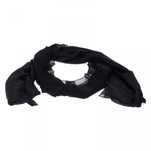 Givenchy Black Logo Jacquard Silk Blend Stole
