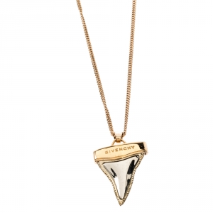 Givenchy Rose Gold Tone Layered Shark Tooth Pendant Necklace