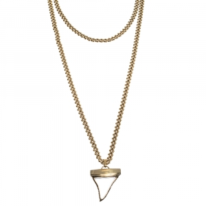 Givenchy Shark Tooth Pendant Gold Tone Double Chain Necklace