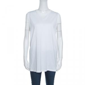 Givenchy White Cotton Braid Printed Detail Sleeveless T Shirt XS - used