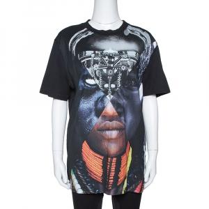 Givenchy Black Cotton Patchwork Portrait Print Crew Neck T Shirt S - used