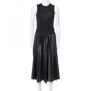 Givenchy Black Jersey Pleated Faux Leather Midi Dress S