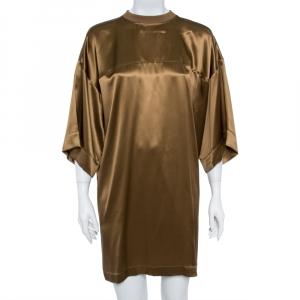 Givenchy Brown Silk Satin Crew Neck Tunic M