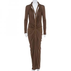 Givenchy Brown Silk Jersey Draped Harness Maxi Dress M