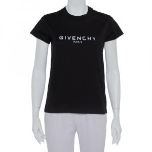 Givenchy Black Cotton Logo Printed Crewneck T-Shirt XS - used