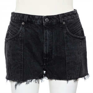 Givenchy Dark Grey Denim Washed Out Effect Raw Edge Detail Shorts M - used