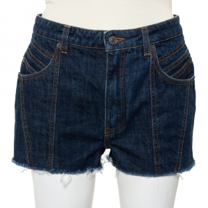 Givenchy Navy Blue Denim Raw Edge Detail Classic Shorts M