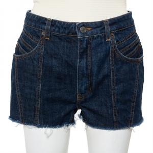 Givenchy Navy Blue Denim Raw Edge Detail Classic Shorts M - used