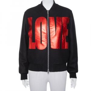 Givenchy Black Wool Love Printed Bomber Jacket M
