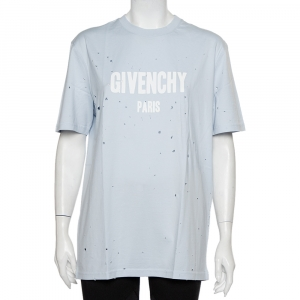Givenchy Faded Blue Cotton Destroyed Oversized T-Shirt S