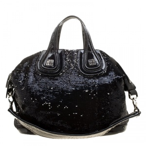 Givenchy Black Sequin and Patent Leather Medium Nightingale Tote