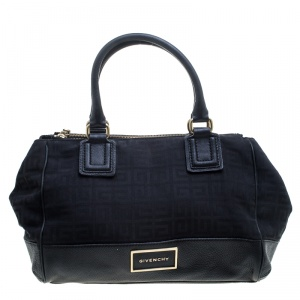 Givenchy Black Monogram Canvas and Leather Double Zip Satchel