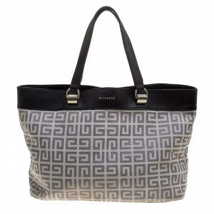 Givenchy Dark Brown/Grey Monogram Canvas and Leather Tote