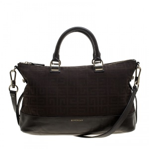 Givenchy Brown Signature Canvas and Leather Convertible Tote