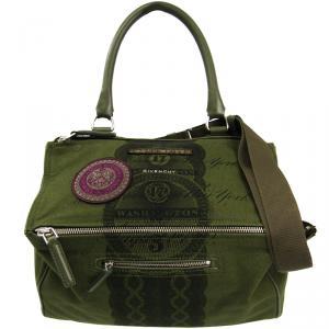 Givenchy Olive Green Printed Canvas Pandora Bag