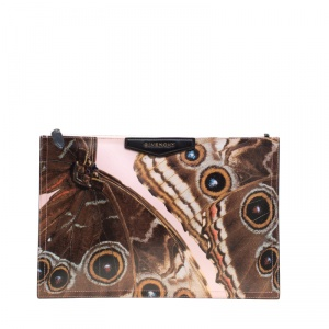 Givenchy Pink Printed Butterfly Coated Canvas Antigona Clutch