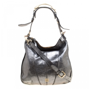 Givenchy Metallic Grey Shimmering Leather Hobo