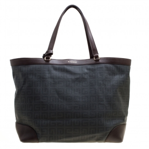 Givenchy Grey/Brown Signature Canvas and Leather Shopper Tote