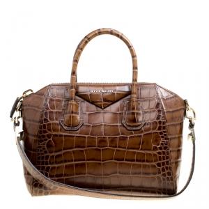 Givenchy Brown Croc Embossed Leather Small Antigona Top Handle Bag