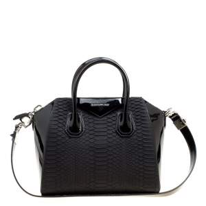 Givenchy Black Python and Patent Leather Small Antigona Top Handle Bag